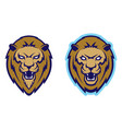 roaring lion head mascot vector image vector image
