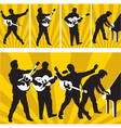 rock and roll silhouettes vector image vector image