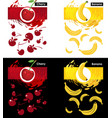 set template of cherry and banana fruit vector image vector image