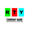 simple logo the three letters rty are located on vector image vector image