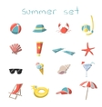 Summer vacation travel icons set vector image vector image
