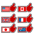 Thumbs Up Icons Representing World Flags vector image vector image