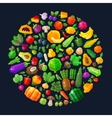 vegetables and fruits in the circle fresh food vector image vector image