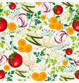 Vegetarian food pattern background vector image