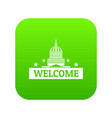 welcome to usa icon green vector image