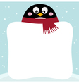 Winter retro penguin with blank banner