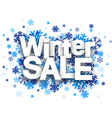 Winter sale paper sign over snowflakes vector image
