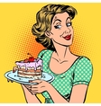woman dessert cake vector image vector image