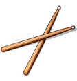 wooden drumsticks cartoon isolated vector image