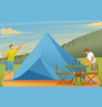 young people set up tents and prepare food flat 2d vector image