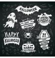 Chalk Halloween Labels on Blackboard Background vector image