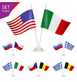 set - table stand with flags vector image