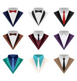 a set of colorful icons of suit and tuxedo vector image vector image