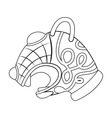 Animal head of viking s ship icon in outline style vector image