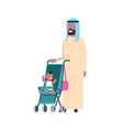 arab father beard with baby son in stroller full vector image