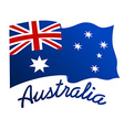 Australian flag in wind with word Australia vector image vector image