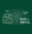 back to school board banner chalk books and apple vector image vector image