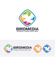 bird media logo template vector image vector image