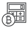bitcoin calculator line icon finance and money vector image vector image