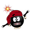 black bomba pirate cartoon vector image vector image