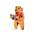 brown bear in red clothes writing at check paper