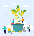business people grow plant in pot and collecting vector image