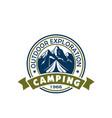 camping holiday and outdoor recreation badge vector image vector image