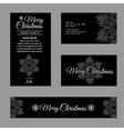 Cards with white snowflakes on a black background vector image vector image