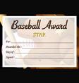certificate template for baseball award vector image