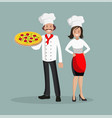 chef is a man and a woman with pizza vector image vector image