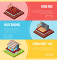 comfortable house building posters set vector image vector image
