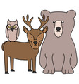 cute bear grizzly with reindeer and owl vector image