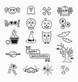 cute halloween black line icons set on white vector image