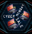 cyber monday sale laptops inside the binary code vector image