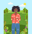 dark-skinned young girl stands on background of vector image
