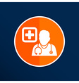 Doctor with stethoscope around his neck icon vector image
