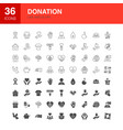 Donation line web glyph icons