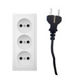 electrical adapter with three outlet and plug vector image