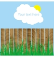 fence wood grass cloud sun sign here your text vector image