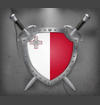 flag of malta the shield with national flag two vector image vector image