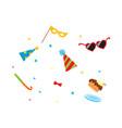 flat cartoon party symbols set vector image vector image