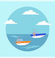 funny ships in cartoon style vessel sailing in vector image vector image