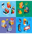 Game Machines 4 Isometric Icons Square vector image vector image