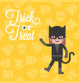 halloween character cat girl costume on ghost vector image