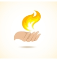 Hands hold fire vector image vector image