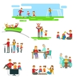 Happy Family Having Fun Together Set Of vector image vector image
