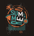 hello summer retro t shirt design template vector image vector image