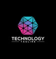 hexagon technology logo template vector image