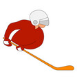 hockey player on ice on white background vector image vector image