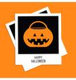 instant photo with rrick or treat pumpkin bucket vector image